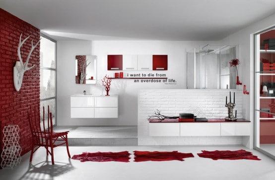 Id es de salle de bains rouge 30 id es incroyables - Salle de bains rouge ...