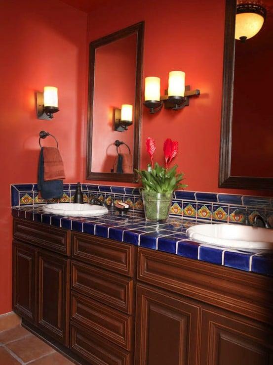 Id es de salle de bains rouge 30 id es incroyables - Salle de bain en rouge ...