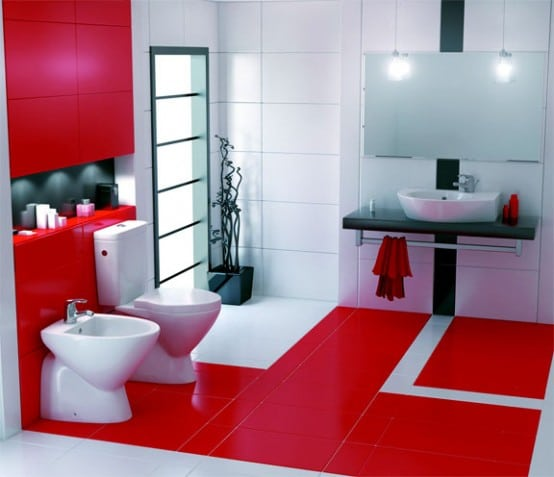 Salle de bain moderne house 1001 photos inspirations for Salle bain rouge