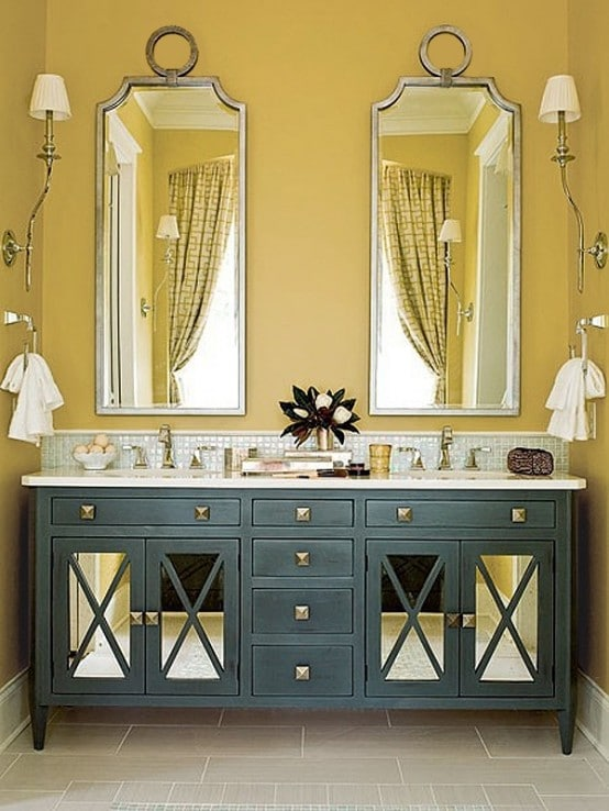 Salle de bains jaune 64 id es qui vont vous faire craquer for Hendrik andriessen miroir de peine