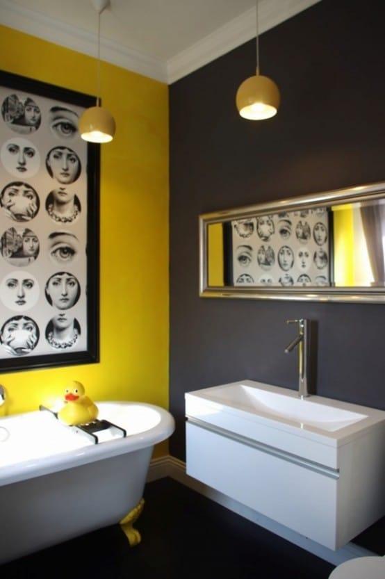 Salle de bains jaune 37 id es qui vont vous faire craquer for Accessoires de salle de bain jaune