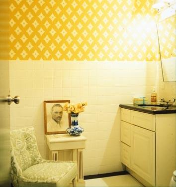 Salle de bains jaune 64 id es qui vont vous faire craquer - Accessoire salle de bain jaune ...