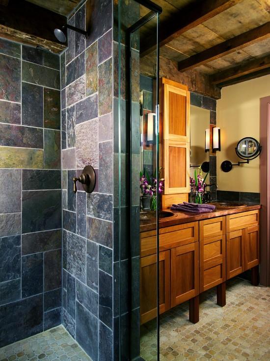 Salle de bains en pierre 35 mod les en marbre granit for Salle de bain bois et ardoise