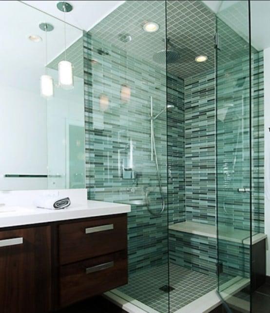 Salle de bains verte 66 id es pour vous convaincre - Faience verte salle de bain ...