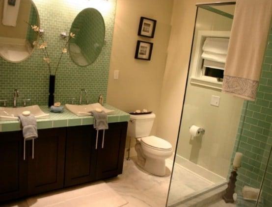 salle de bains verte 125 idees pour vous convaincre With carrelage gris couleur mur 5 salle de bains verte 125 idees pour vous convaincre