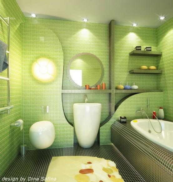 D coration salle de bain verte for Salle de bain verte