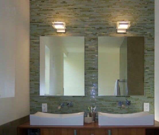 Salle de bains verte 66 id es pour vous convaincre - Prise electrique salle de bain lavabo ...