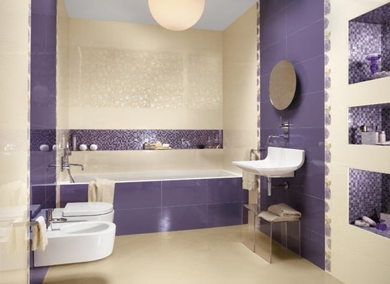Salle de bains violette 57 id es pour vous convaincre for Salle de bain annee 50