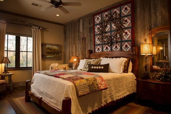 chambre rustique avec mur en bois de palettes original
