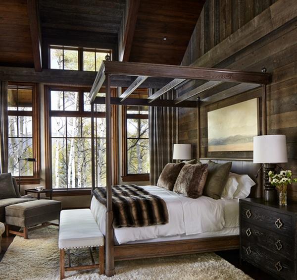 chambre de style classique avec bois sur les murs
