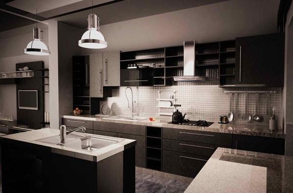 cuisine noire et moderne 15 id es pour vous r concilier avec le noir. Black Bedroom Furniture Sets. Home Design Ideas