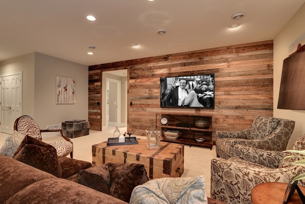 Mur En Bois Salon : Basement Family Room Wall