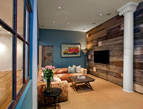 Mur En Bois Salon : Living Room with Reclaimed Wood Wall