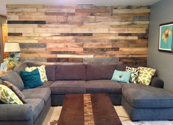 Mur En Bois Salon : Pallet Wall Living Room