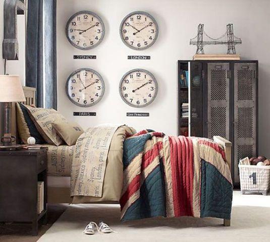 lit avec couette London dans ambiance industrielle