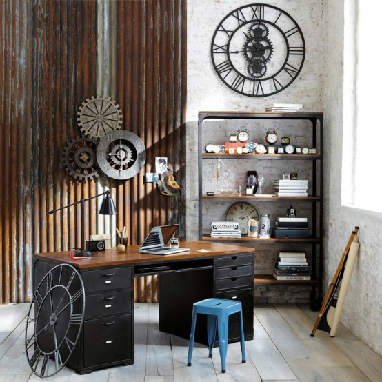 bureau de style industriel 23 id es et conseils d 39 am nagement. Black Bedroom Furniture Sets. Home Design Ideas