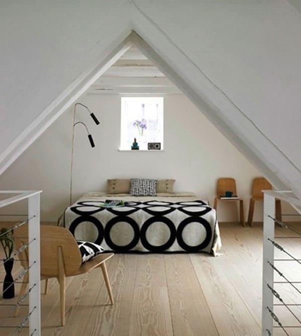 chambre contemporaine aménagée sous les combles