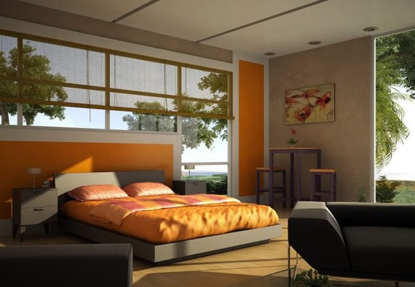 Chambre orange 15 exemples pour distiller chaleur et intimit moderne house 1001 photos for Chambre orange marron