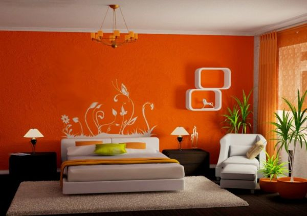 chambre moderne orange avec stickers blanc - Chambre Orange Et Marron