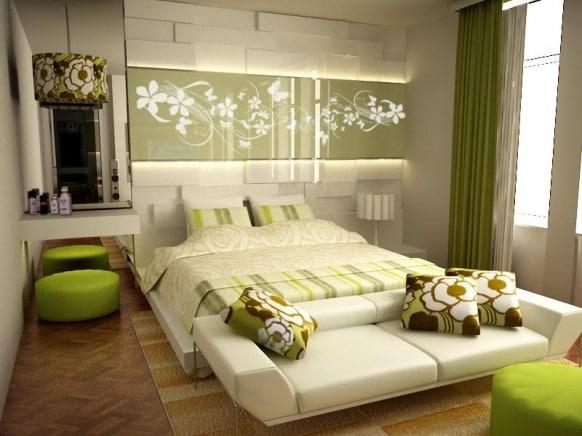 chambre moderne décorée avec du vert