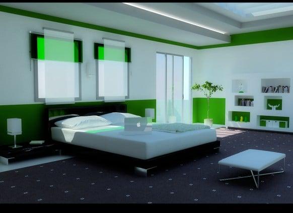 chambre design décorée avec du vert