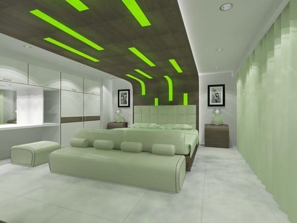 chambre très moderne avec les lignes de vert