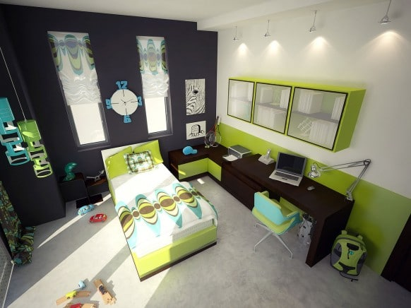 aménagement d'une chambre d'adolescent en vert