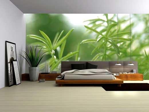 chambre naturelle avec motifs plante vertes
