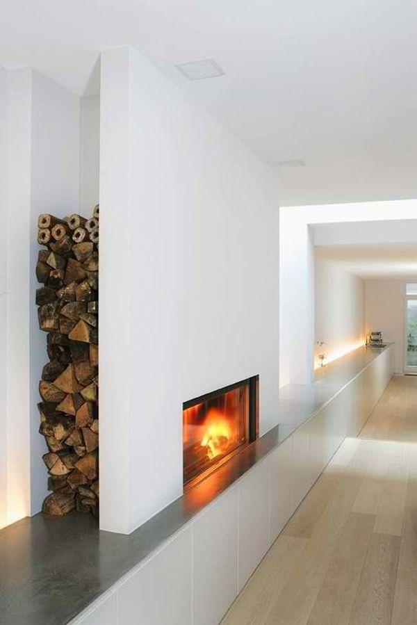 Id es rangement pour le bois de chemin e dans votre - Cheminee en bois decorative ...