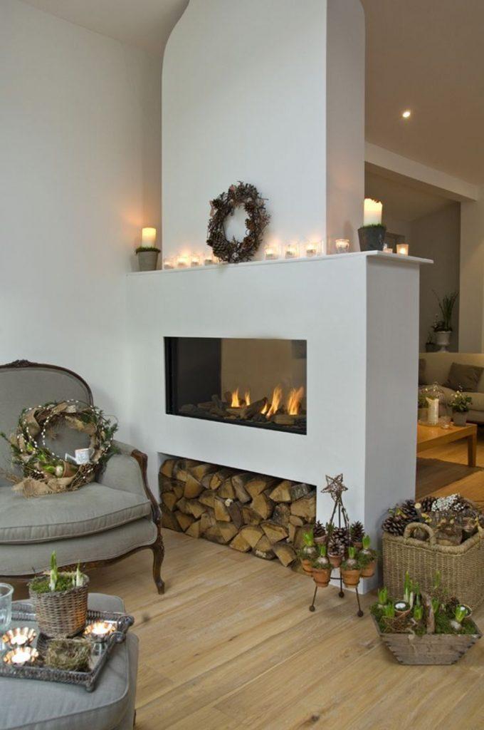 idée rangement bois en dessous cheminée