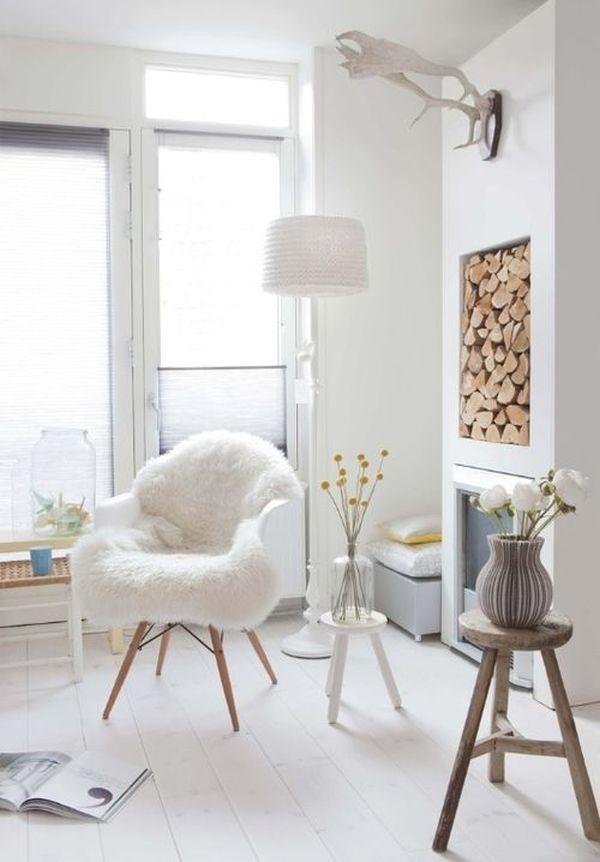 idée rangement bois dans intérieur scandinave