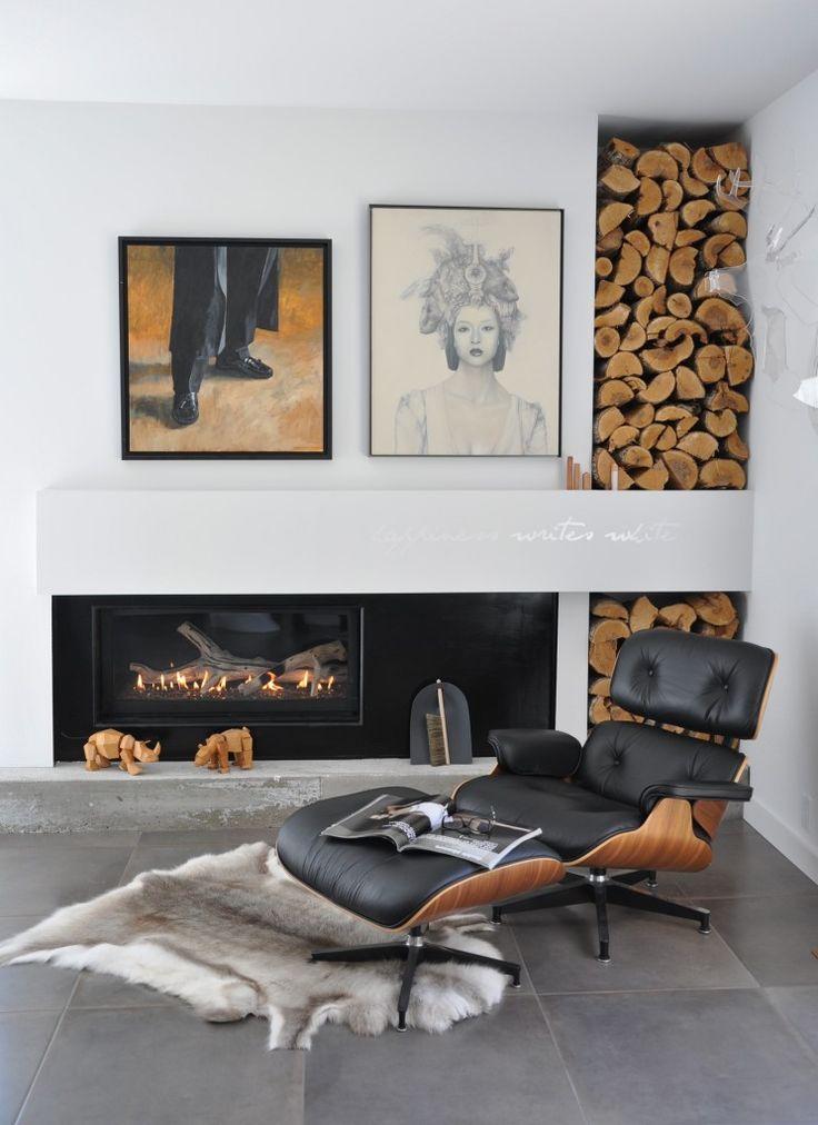 Id es rangement pour le bois de chemin e dans votre int rieur - Deco moderne dans maison ancienne ...