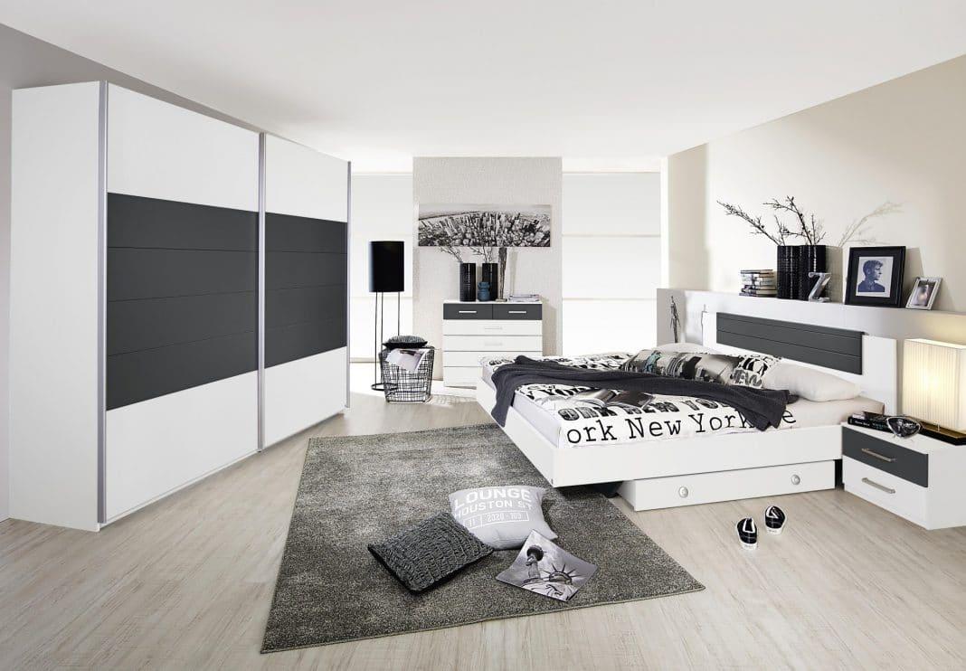 Chambre grise et blanche 19 id es zen et modernes pour se d marquer - Chambre moderne noir et blanc ...