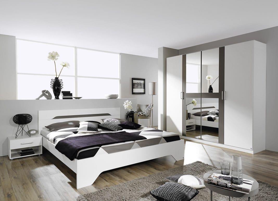 chambre grise et blanche 19 id es zen et modernes pour se d marquer moderne house 1001. Black Bedroom Furniture Sets. Home Design Ideas