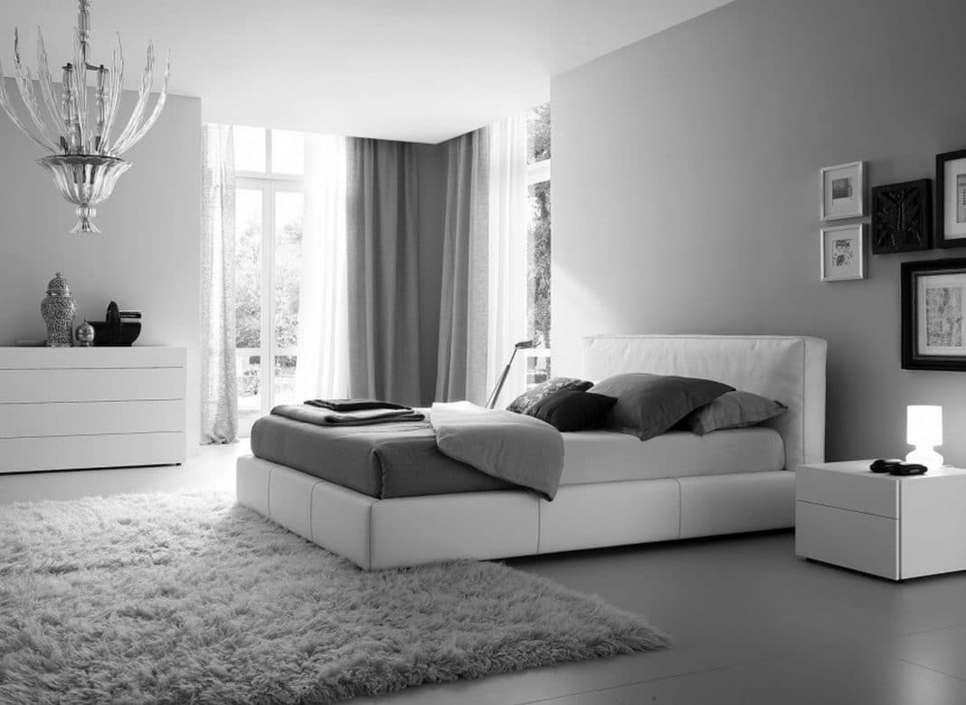 chambre grise et blanche 19 id es zen et modernes pour se d marquer. Black Bedroom Furniture Sets. Home Design Ideas