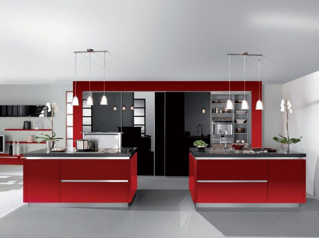 cuisine rouge et blanche 13 id es et conseils pour l 39 agencer. Black Bedroom Furniture Sets. Home Design Ideas