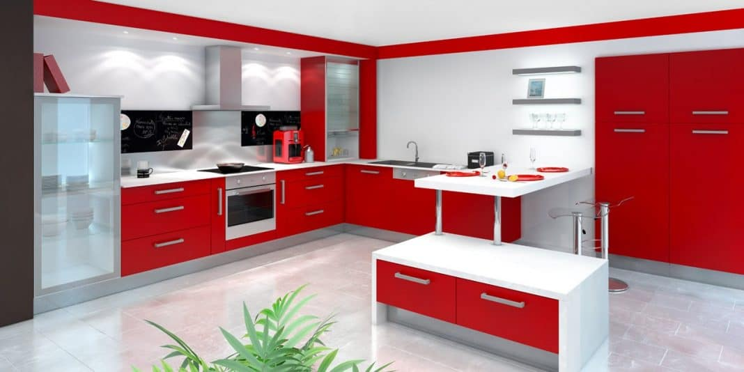 Cuisine moderne rouge the image kid has it - Cuisine moderne blanche ...