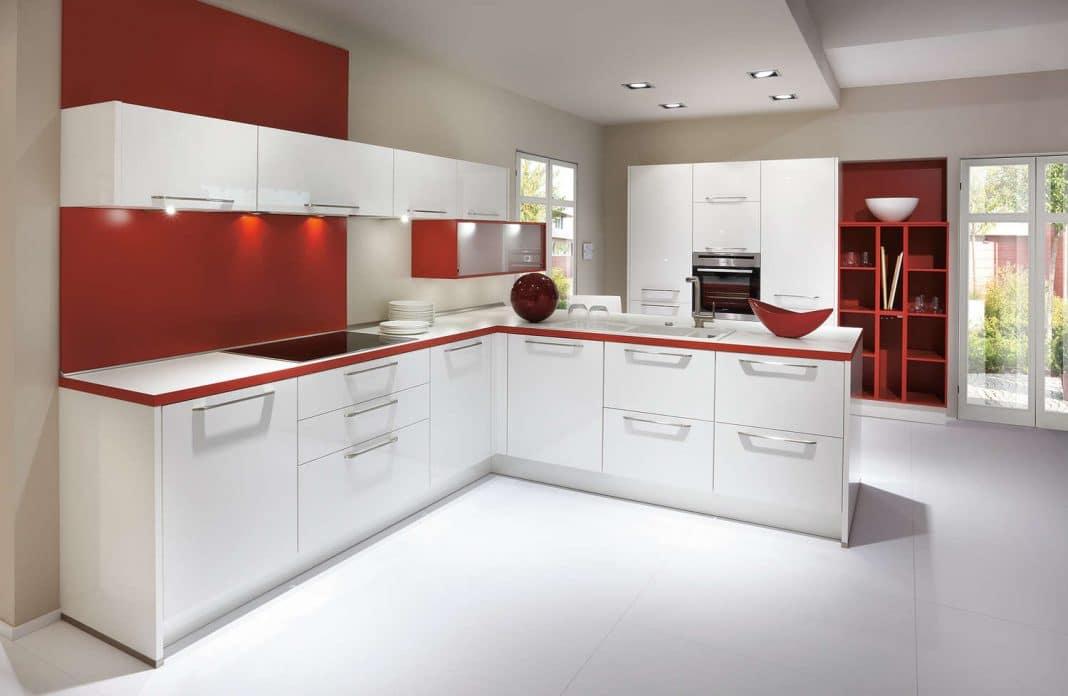 Cuisine blanche et rouge cuisine bicolore design blanche - Cuisine rouge blanc ...