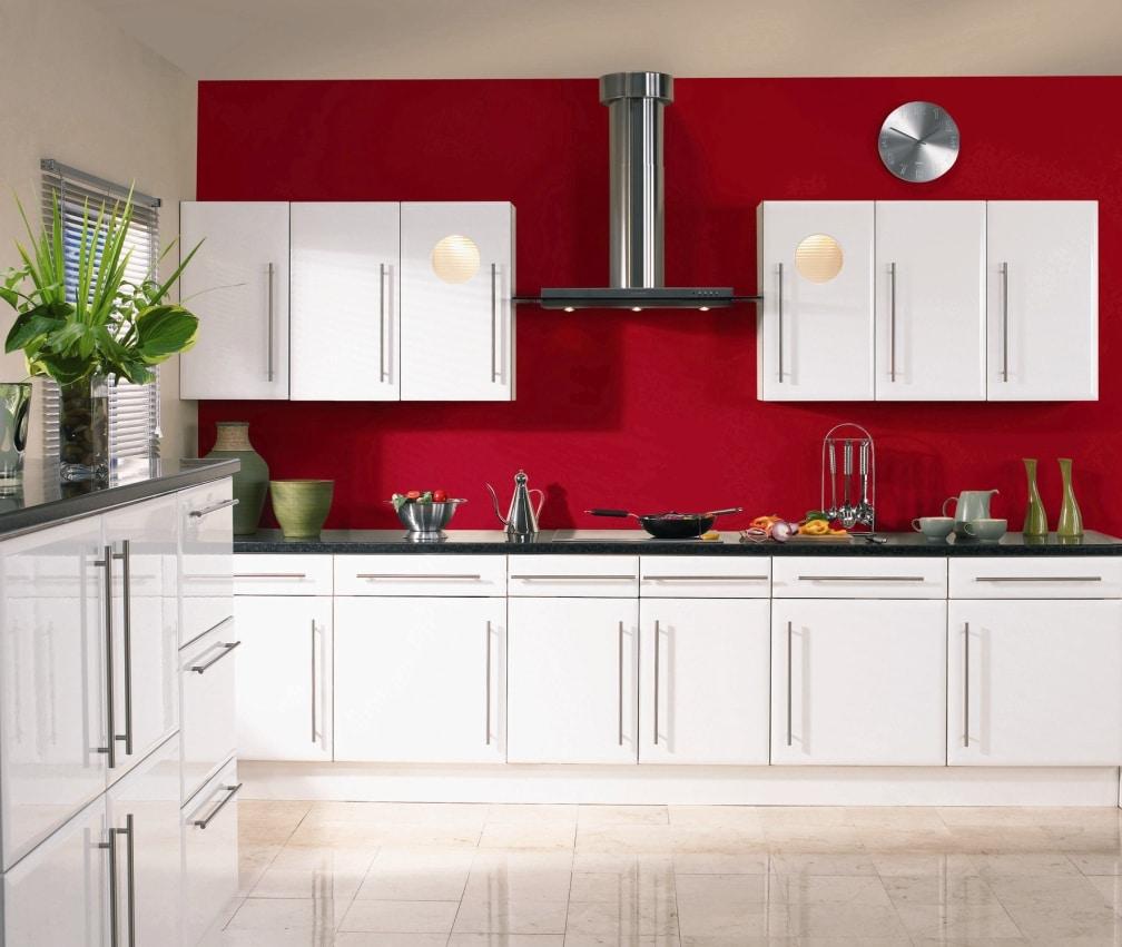 Cuisine rouge et blanche 13 id es et conseils pour l 39 agencer - Mur cuisine rouge ...