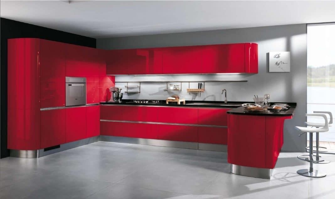 Cuisine rouge et blanc pr l vement d - Cuisine moderne rouge et blanc ...