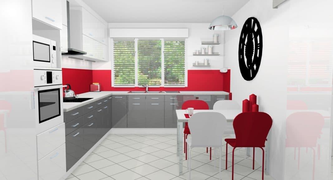 Cuisine Blanche Gris : 13 idées de cuisines rouges et blanches  Moderne House  1001 photos