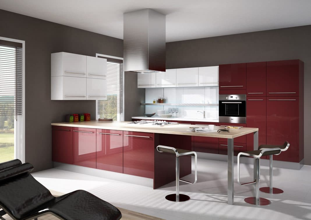 cuisine rouge et grise top peinture gris et rouge chambre u lombards with cuisine rouge et. Black Bedroom Furniture Sets. Home Design Ideas