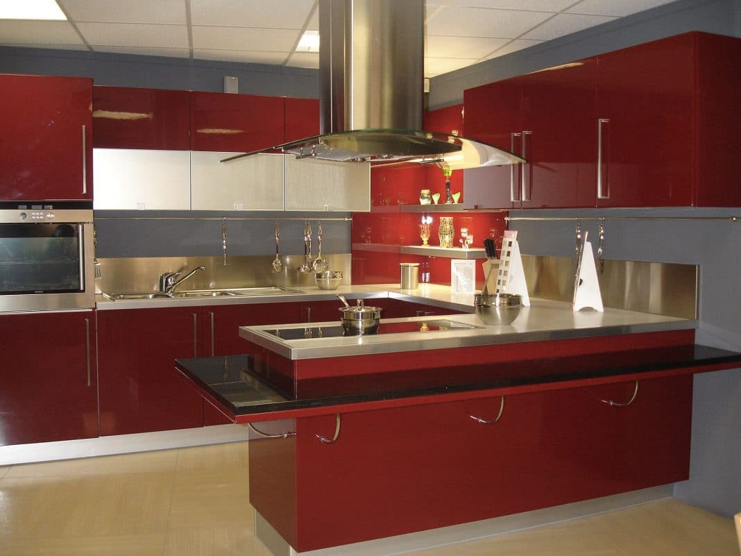 Cuisine moderne rouge the image kid has it for Cuisine contemporaine design
