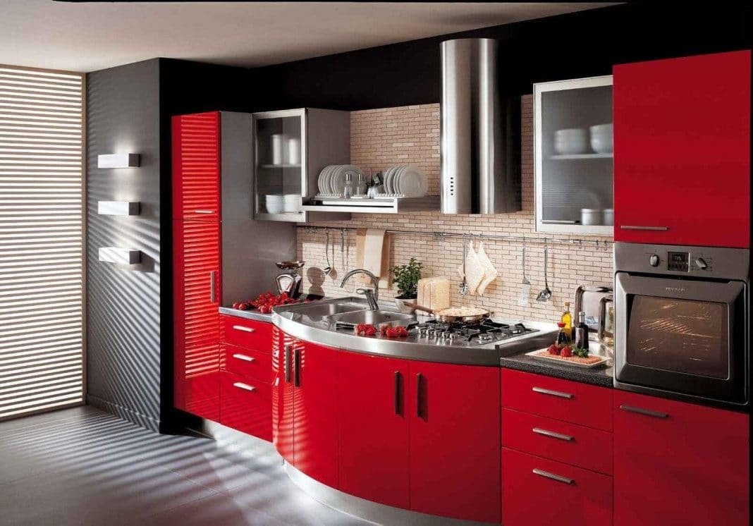 cuisine rouge et grise 35 photos la cuisine tendance et. Black Bedroom Furniture Sets. Home Design Ideas