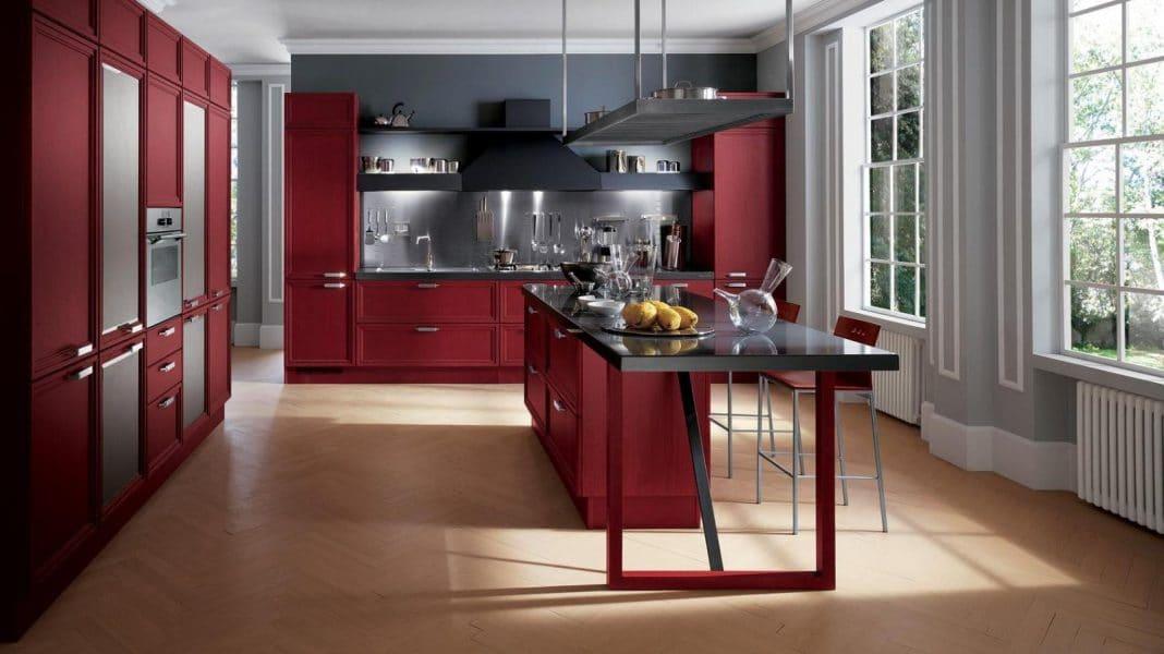 cuisine rouge et gris
