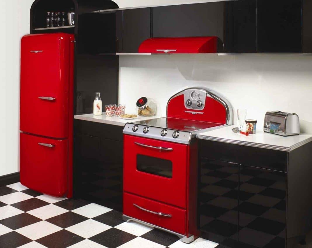 cuisine lassociation du rouge et noir entre vintage et