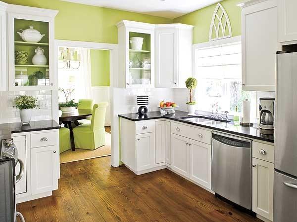 Cuisine verte 60 photos et conseils d co pour une cuisine - Cuisine mur vert pomme ...