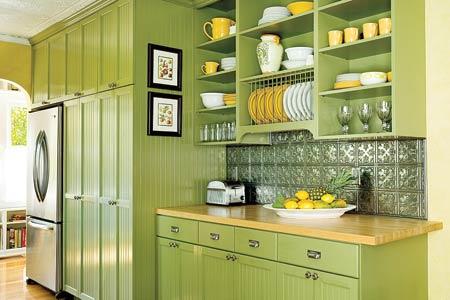 Cuisine verte 60 photos et conseils d co pour une cuisine pleine de peps m - Cuisine mur vert pomme ...
