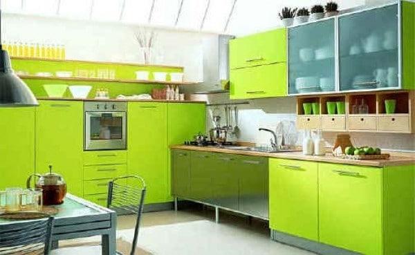 cuisine verte 60 photos et conseils d co pour une cuisine. Black Bedroom Furniture Sets. Home Design Ideas