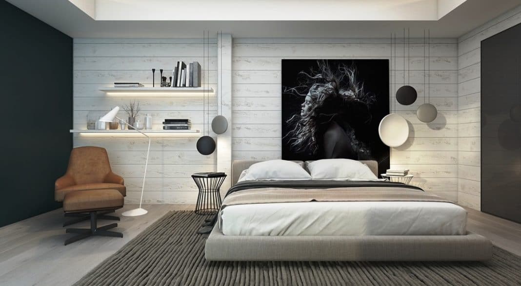 chambre chambre a coucher grise et blanc chambre a. Black Bedroom Furniture Sets. Home Design Ideas